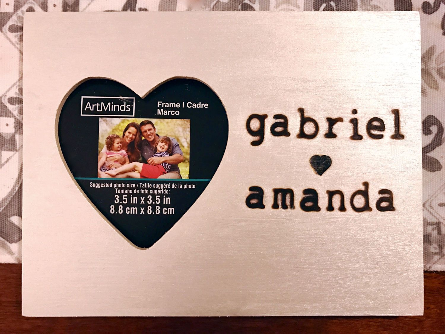 Wood-burned couple\'s names wooden heart picture frame in metallic ...