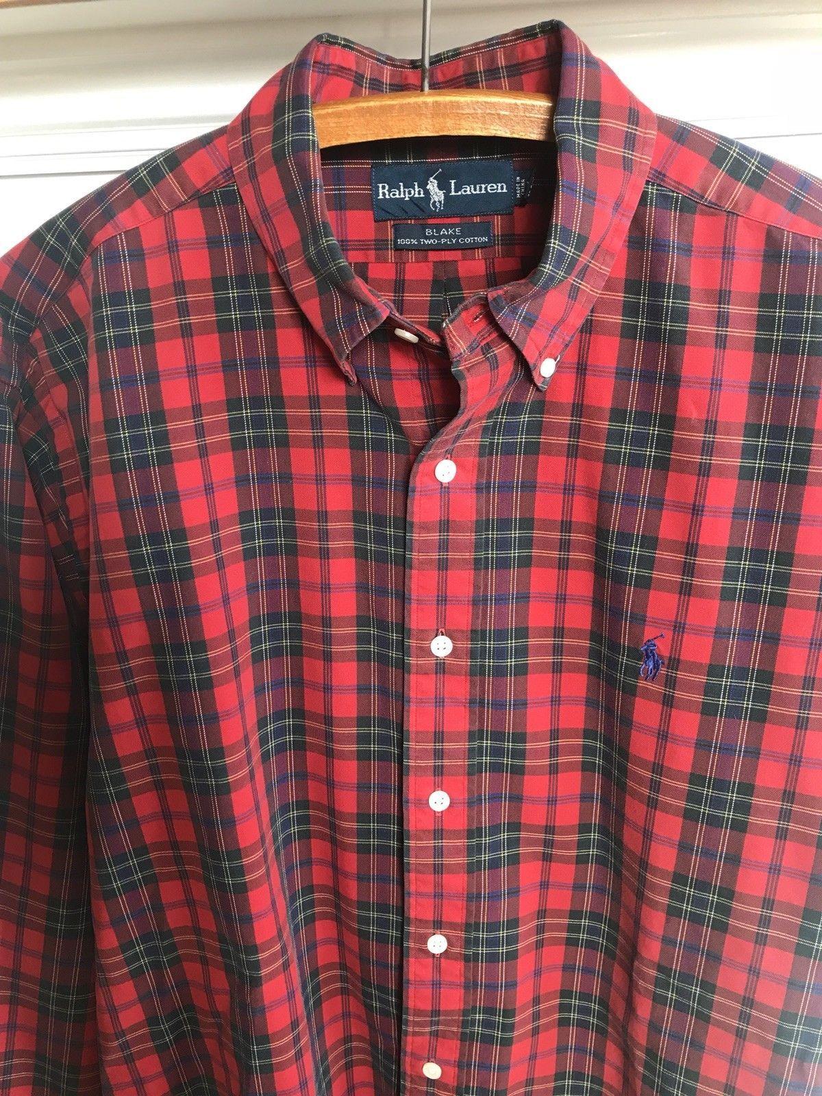 61cc0c440 Ralph Lauren Blake Shirt Sz Lg Red Black Tartan Plaid