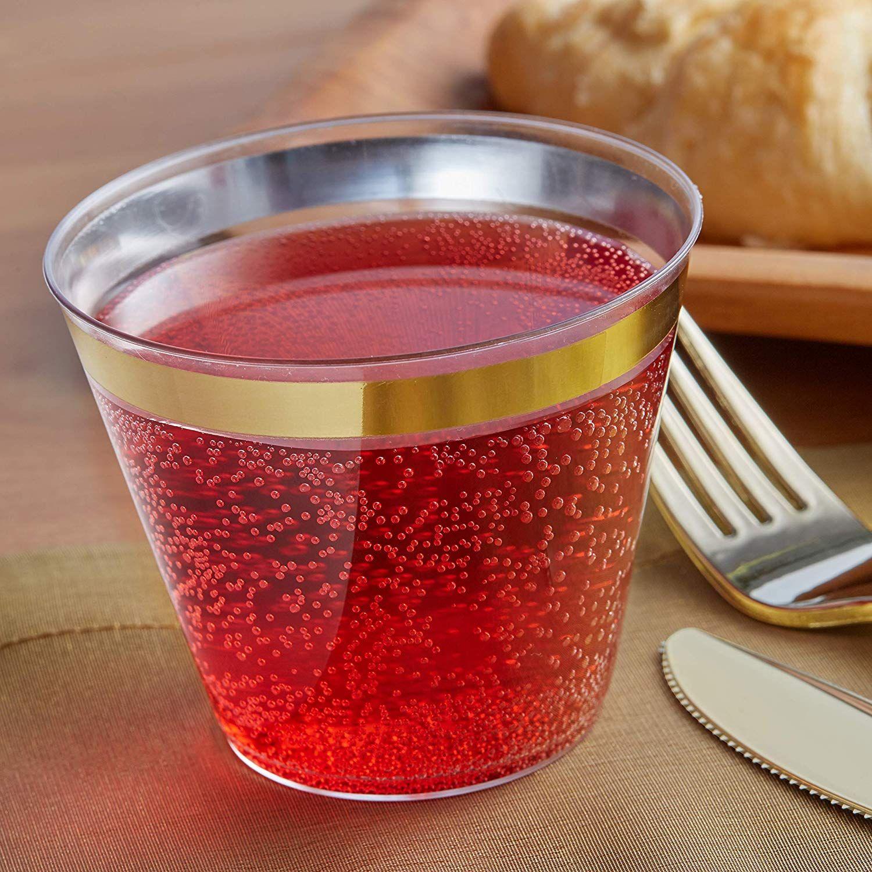 Plastic cups with gold rim Elegant plastic dinnerware