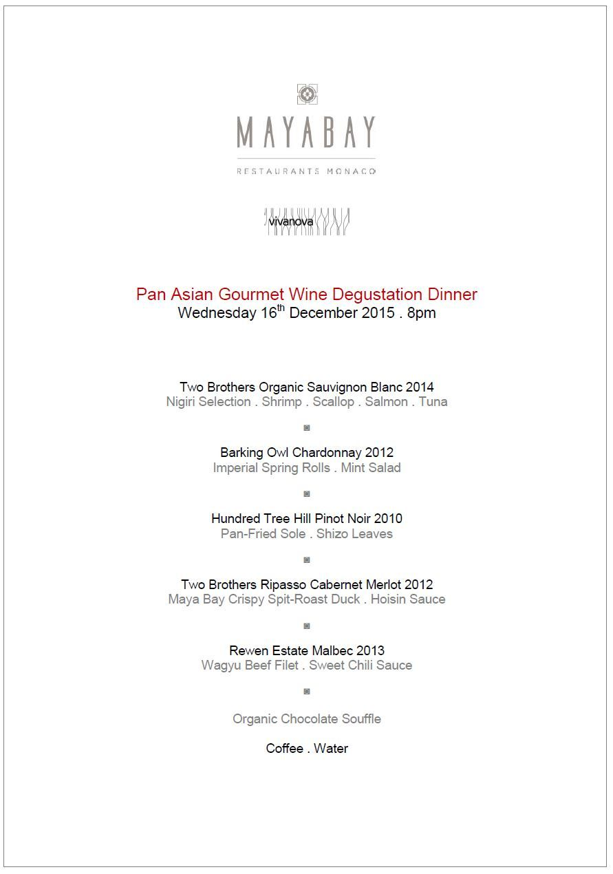 Six Course Thai Japanese Fusion Menu . MONTE CARLO . Maya Bay ...