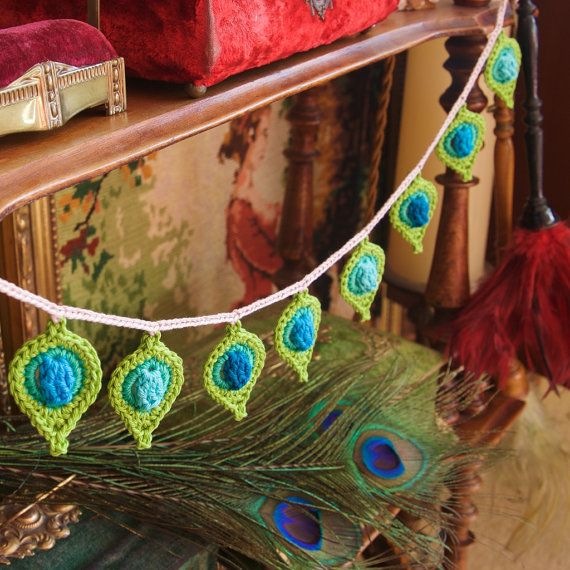 Crochet PATTERN Peacock Feather, Stool Cover and Garland \