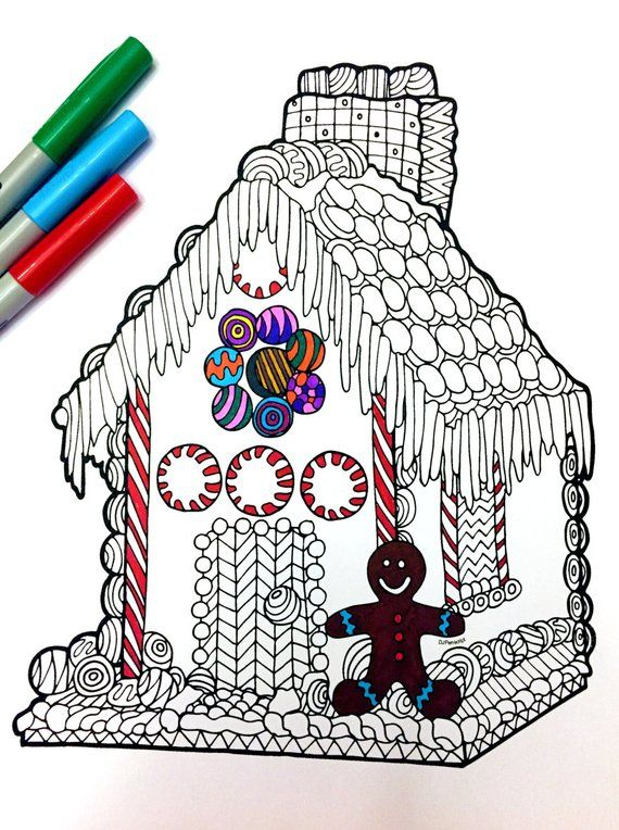 Gingerbread House PDF Zentangle Coloring Page Etsy