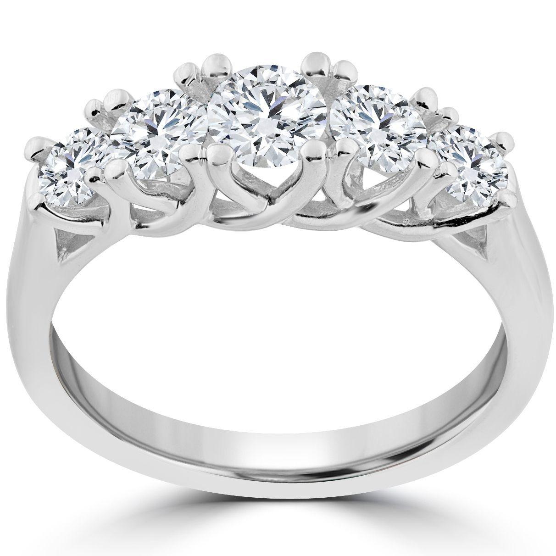 14k White Gold 1 Ct TDW 5Stone Graduated Round Diamond