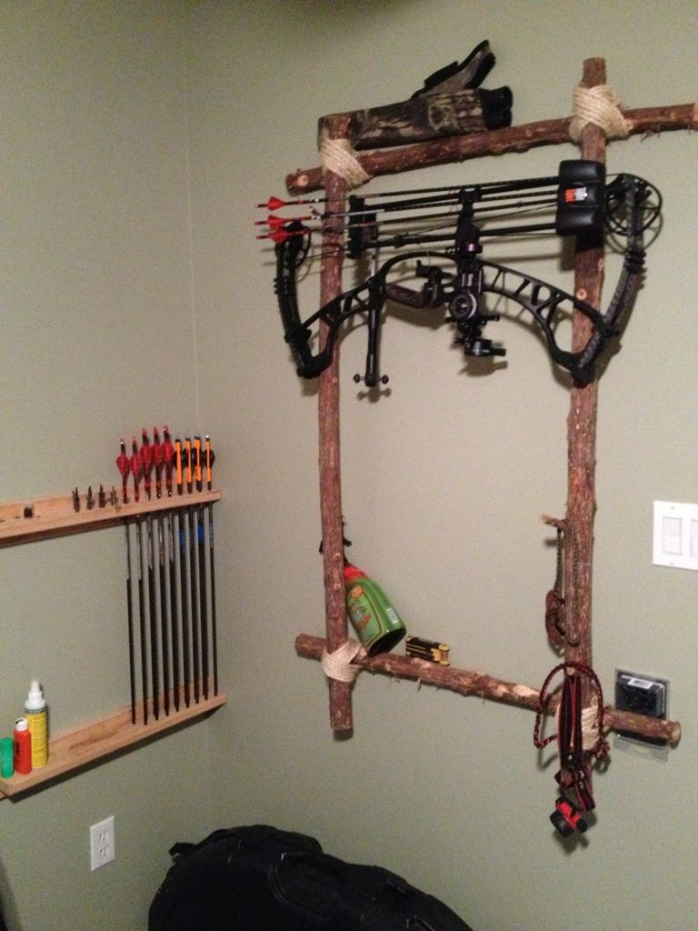 Homemade bow holder s k p google archery pinterest homemade bows archery and bow rack - How to make a homemade bow and arrow out of wood ...