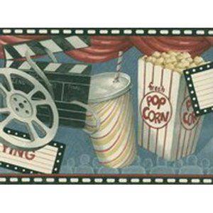 Movie Theater Game Room Feature Presentation Pop Corn Wallpaper Border Http Www Amazon Com Theater Feature Wallpaper Border Movie Decor Wallpaper Samples