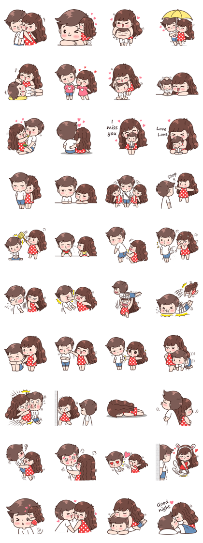 Boobib Cute Couples ( For Girl ) Vol.3 – LINE stickers   LINE STORE