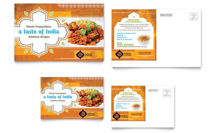 Postcard Sample - Indian Restaurant Graphic Designs Gallore - postcard format template