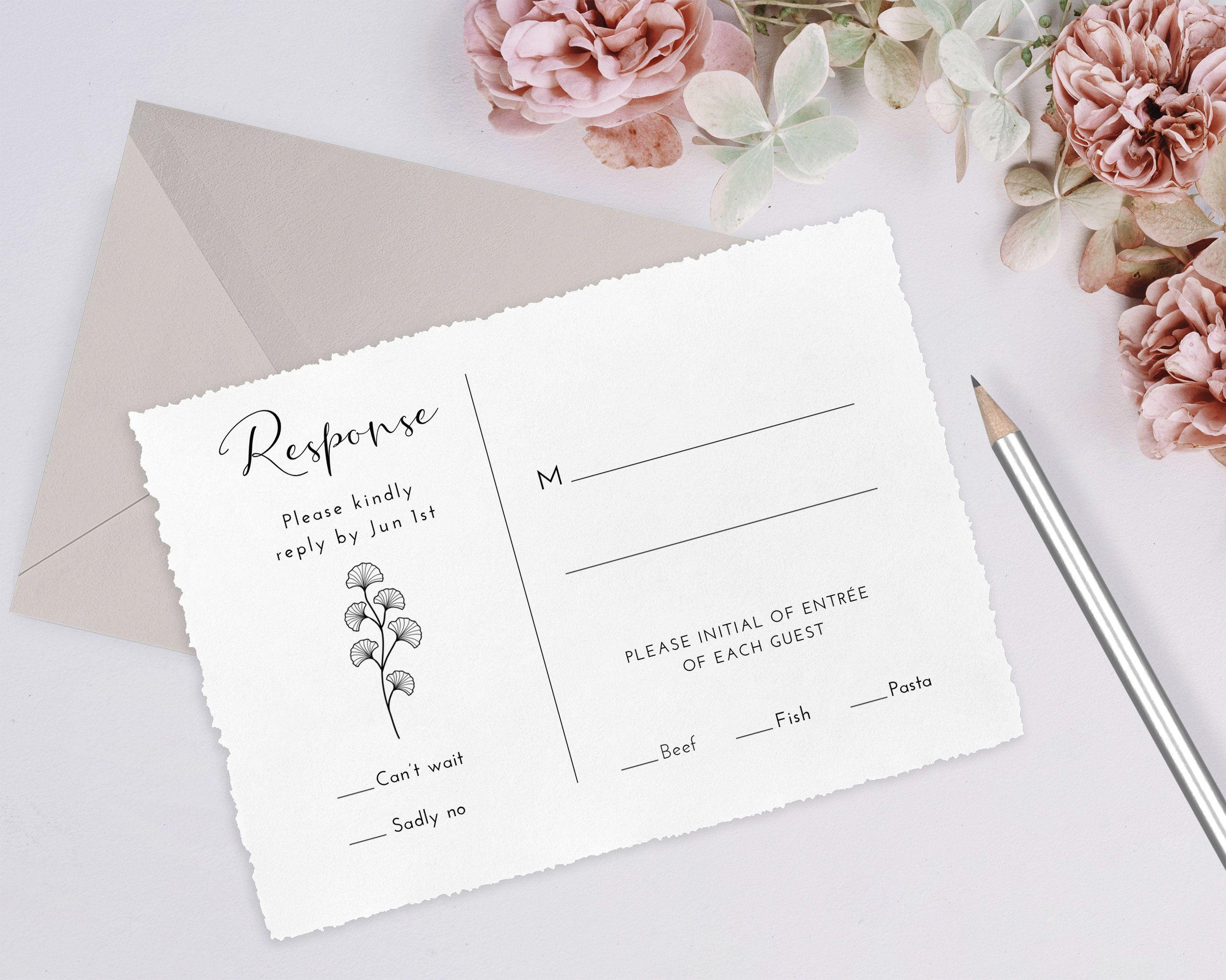 Modern Wedding RSVP Card Template 100% Editable Wedding | Etsy