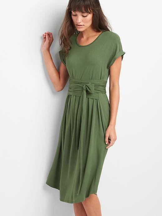 37fd6cb328 Gap Womens Short Sleeve Front-Tie Dress Jungle Green   Products ...