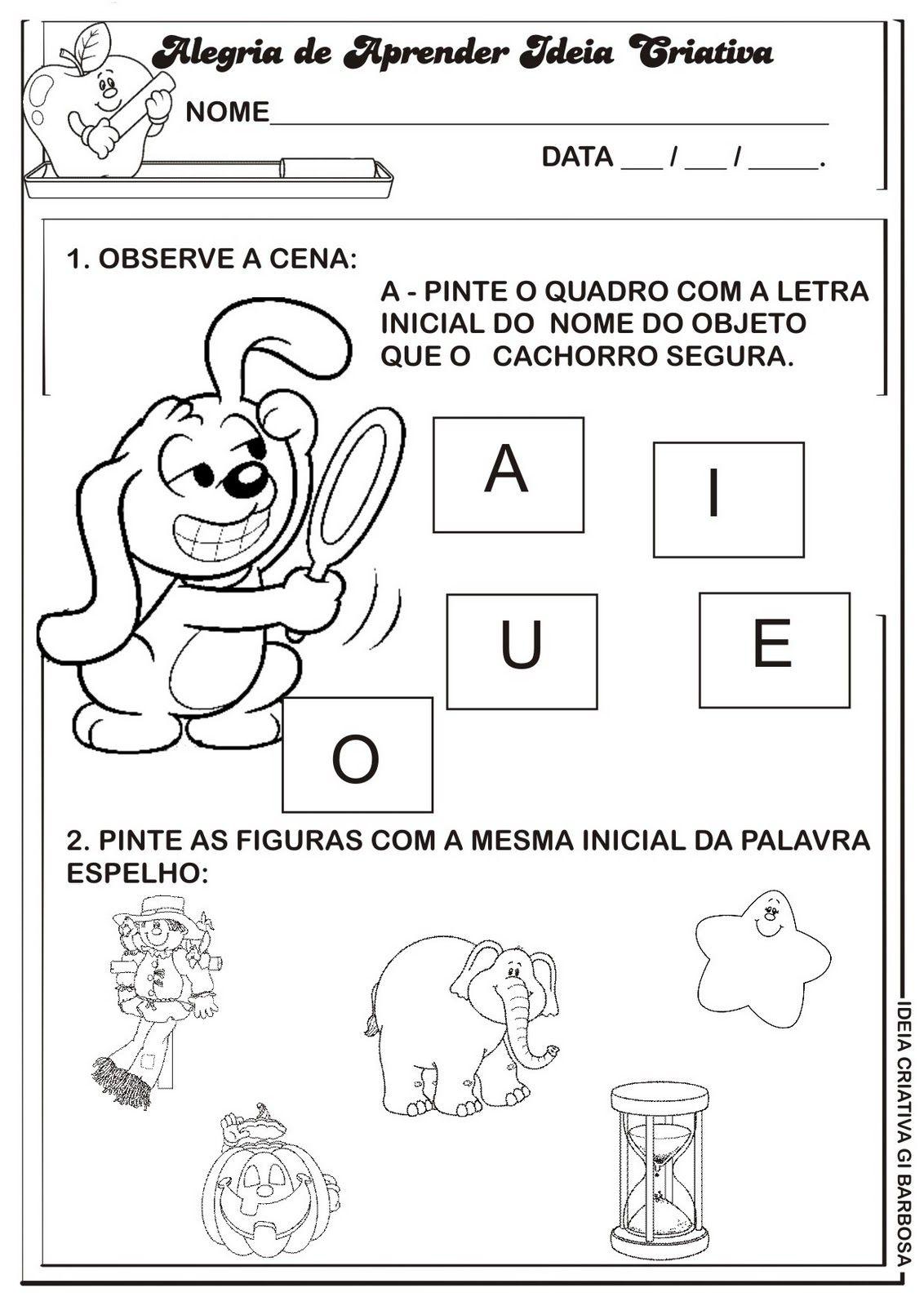 Fabuloso Atividade Letra E Ideia Criativa Gi Barbosa | Escola | Pinterest  QY82