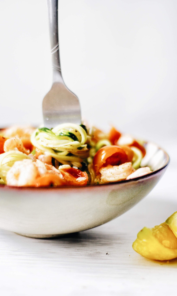 """Zucchini Noodles """"zoodles"""" with Shrimp and Roasted Tomatoes images"""