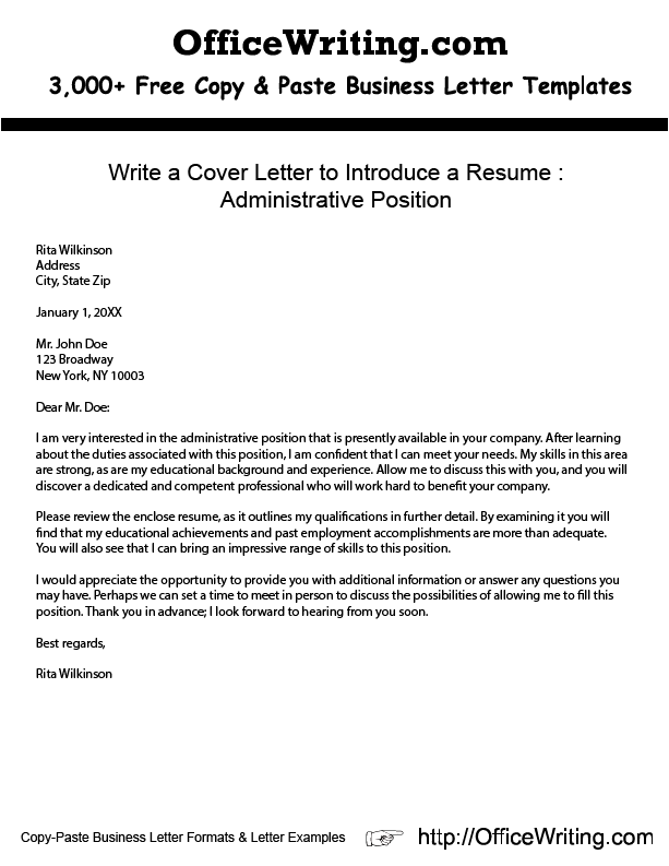 write a cover letter to introduce a resume administrative position http. Resume Example. Resume CV Cover Letter