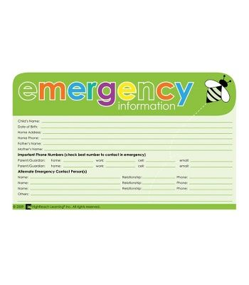 CDWishList Emergency Information Cards Reports Preschool\/Child - emergency contact forms
