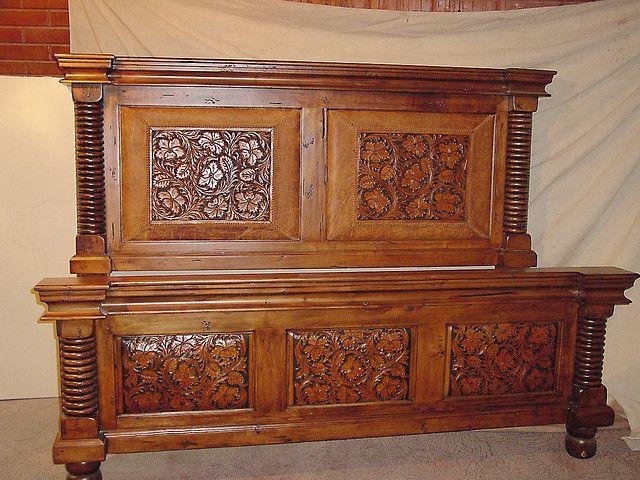 Custom Maple Wood Bed | Cuero repujado, Muebles de madera y Madera