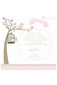 Μένη Ρογκότη - Προσκλητήριο βάπτισης για κορίτσι πουλάκι