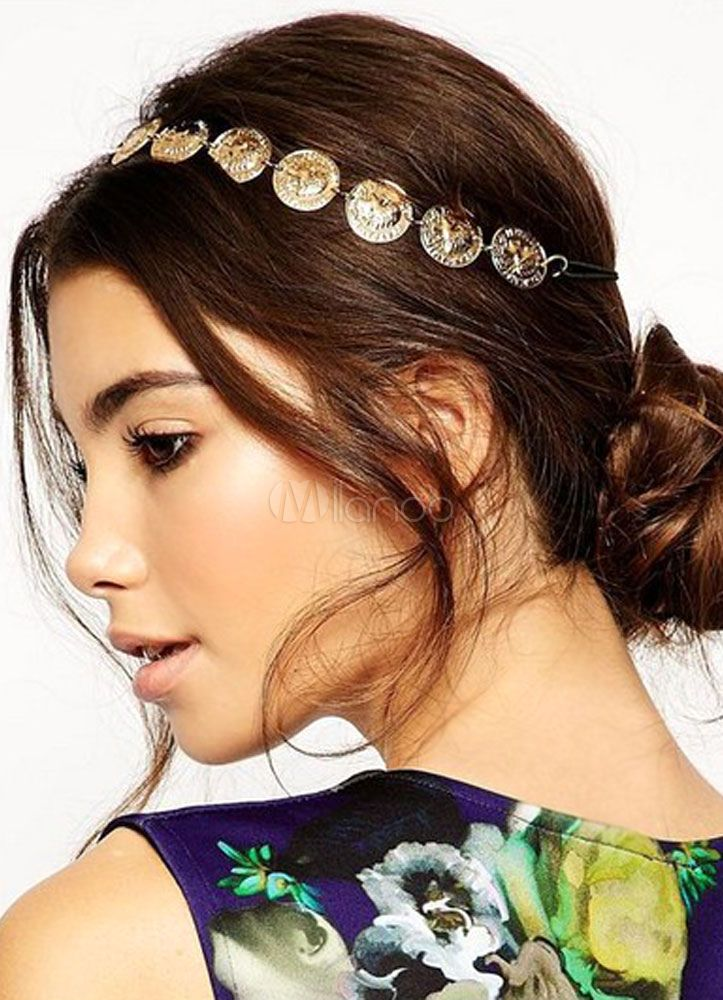 Gold Hairband Disk Pattern Metal Hair Accessories