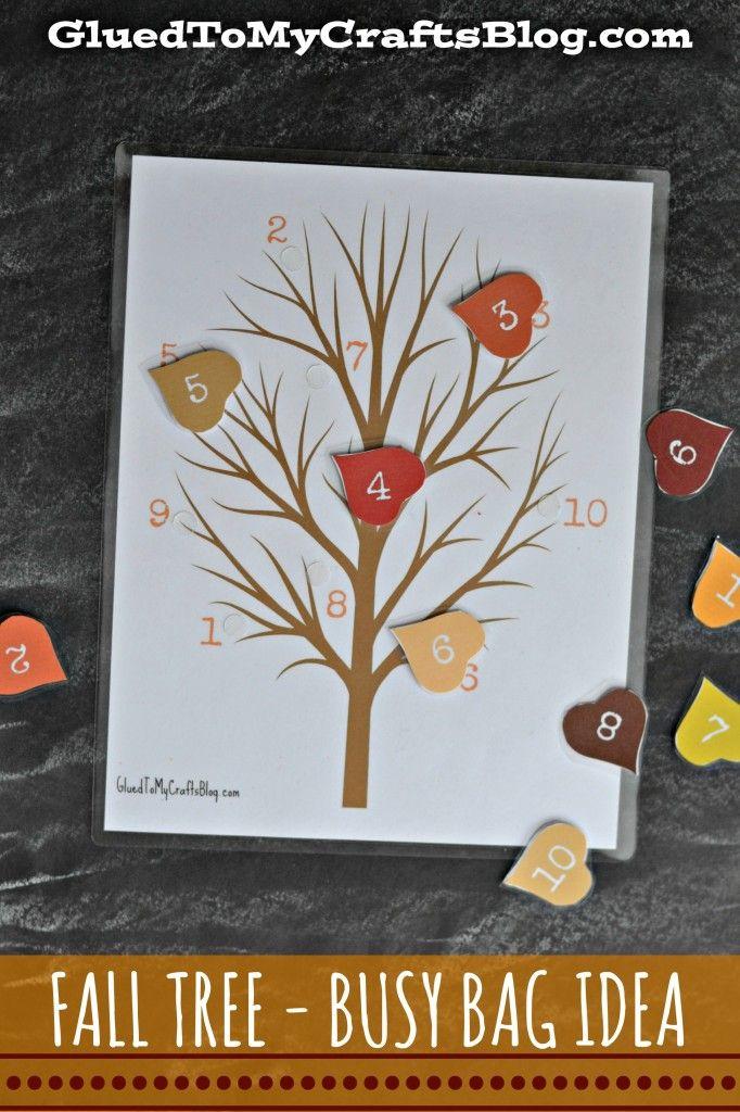 Fall Tree - Busy Bag Idea + Free Printable #falltrees