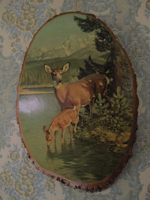 Vintage Deer Tree Slice Art 1950s Decoupage Country