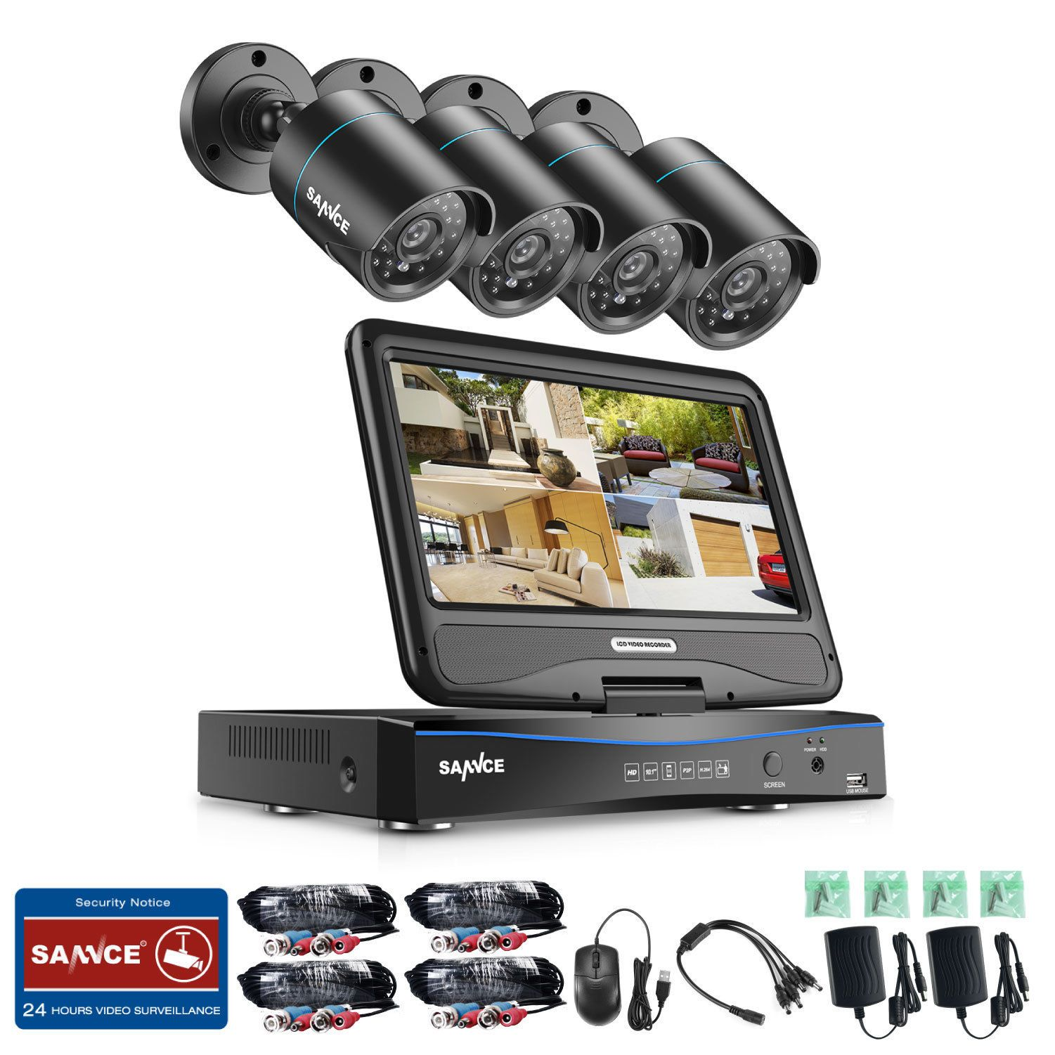 SANNCE 4CH//8CH 1080N LCD Monitor DVR 1500TVL In//Outdoor Security Camera System