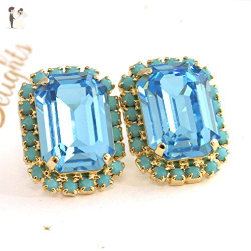 light stud blue hoop half earrings accessories stones en pinkpvssy with silver