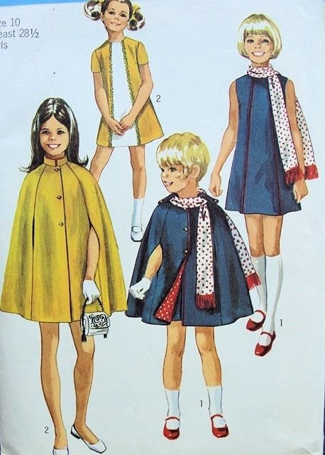 1960s Girls A Line Dress, Cape Coat and Scarf Pattern Stylish Mod ...