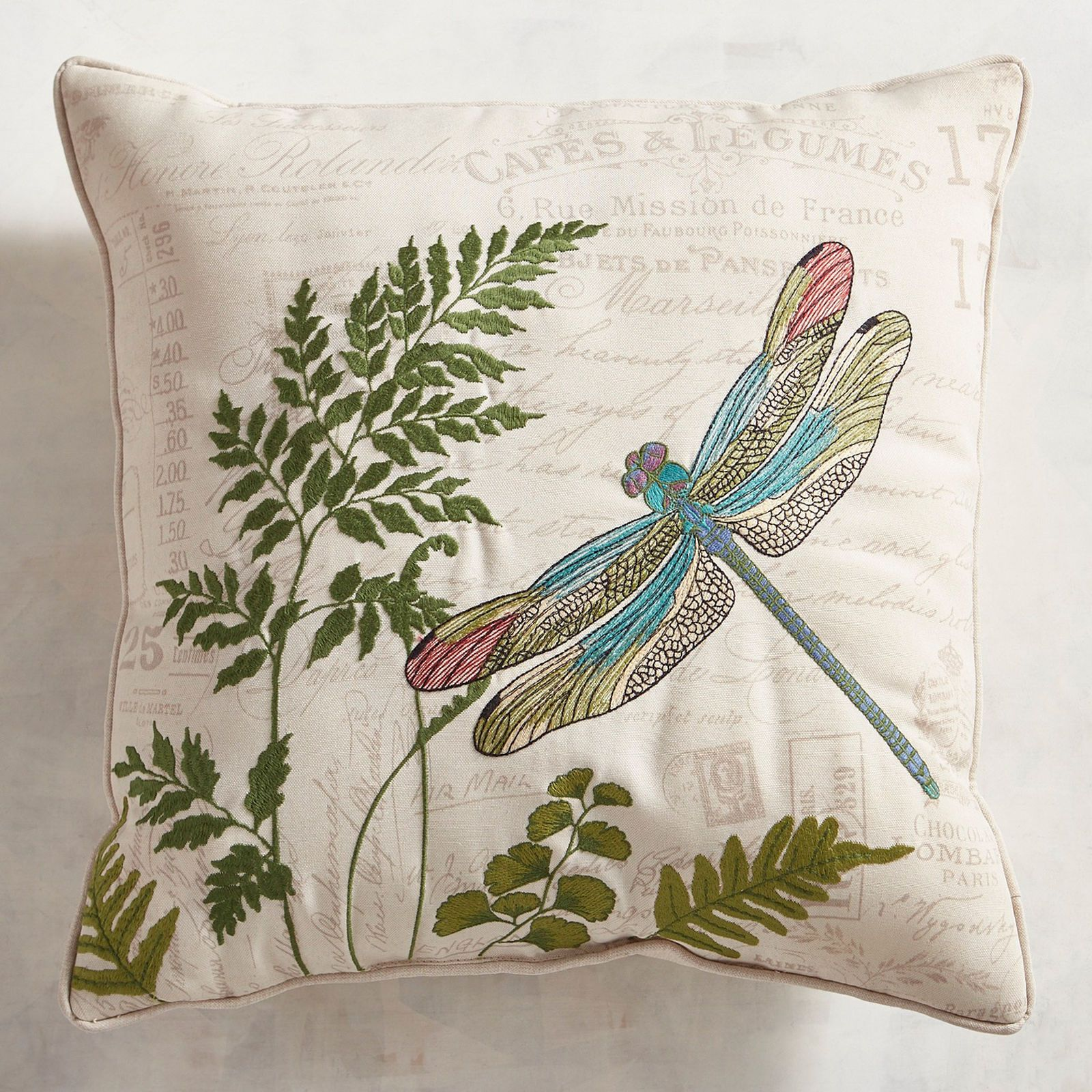 Embroidered Dragonfly Script Pillow Pier 1 Imports Script