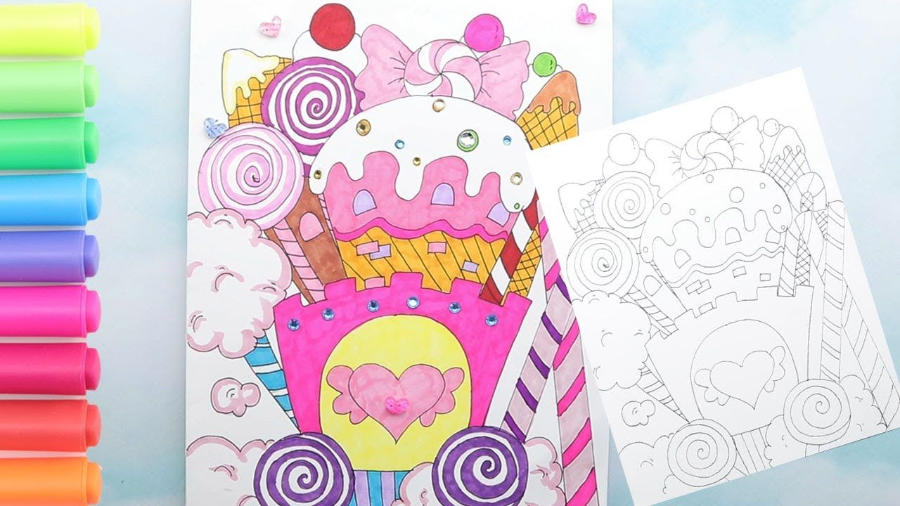 How To Draw A Candy Castle For Paper Dolls Playing Coloring A