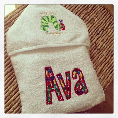 Personalised The very hungry caterpillar  hooded baby towel