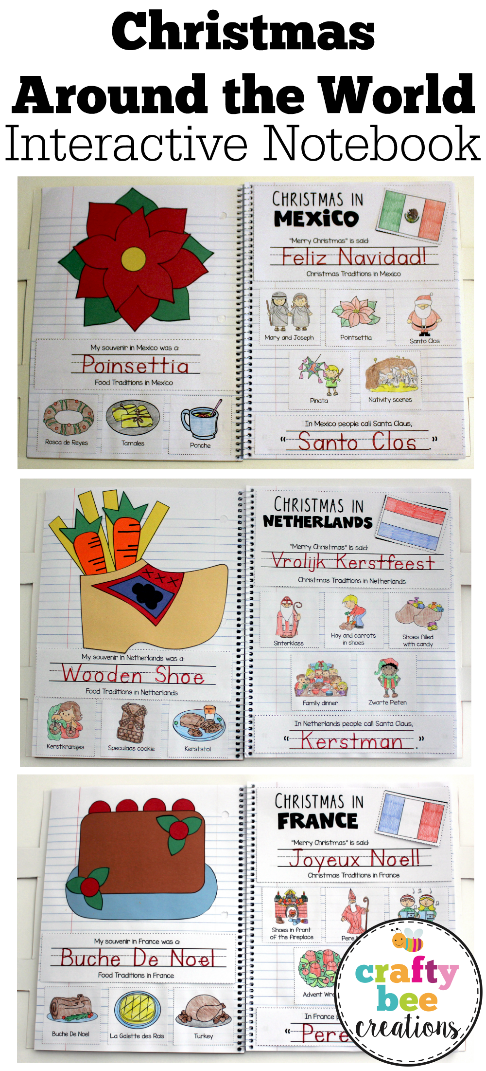 Christmas Around The World Interactive Notebook That Includes Crafts And