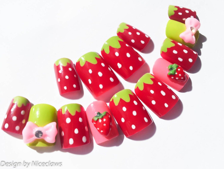 Strawberry Fake Nails, Kawaii Nails, 3D Nails, False Nails, Press on ...