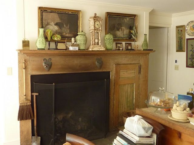 Bunny Williams home. Wish I had a fireplace like this in my kitchen!
