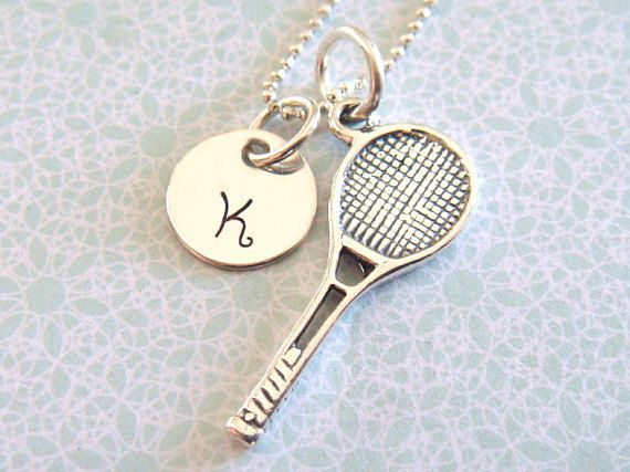 Tennis necklace with hand stamped initial disc tennis racket a tennis necklace hand stamped and adorned with a sterling silver tennis racquet charm a aloadofball Images