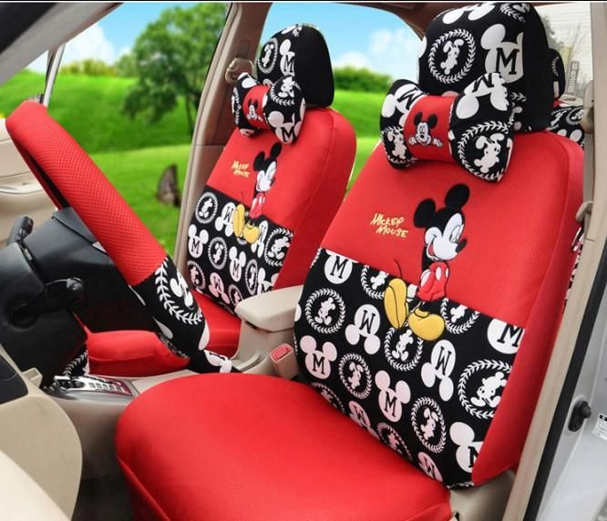 Fashion Cartoon Mickey Mouse Car Seats Covers Set Lovers Front Back For Full Accessories Cheap Leather Seat