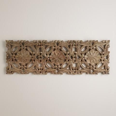 For above the bed antiqued carved wood wall decor world market