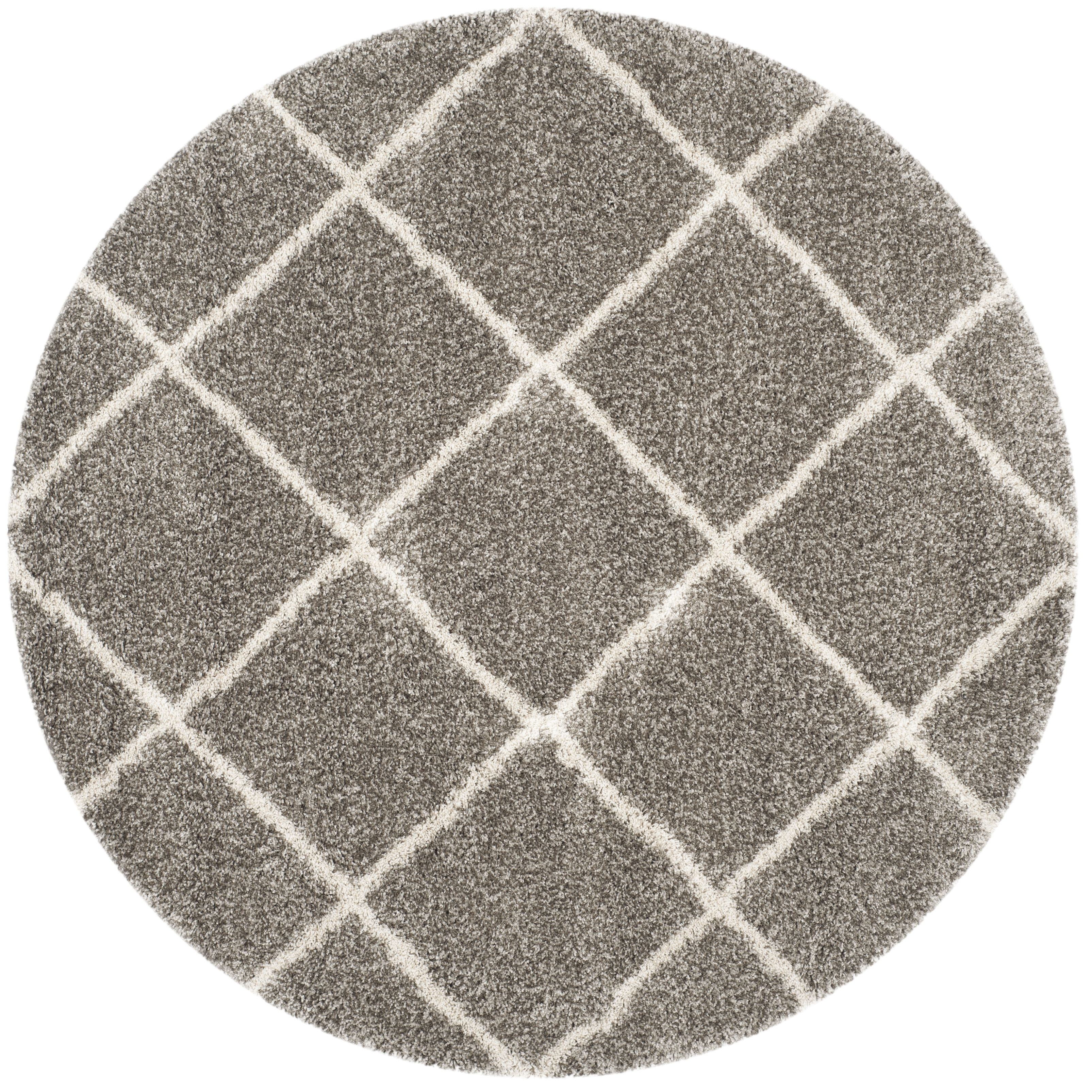 Hudson Shag Collection 9 X 9 Round Rug In Grey And Ivory