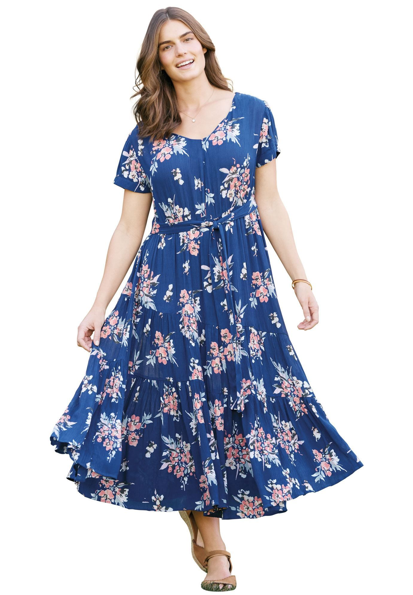 843a0bcad5bec Tiered Floral Crinkle Dress - Women's Plus Size Clothing | Products ...