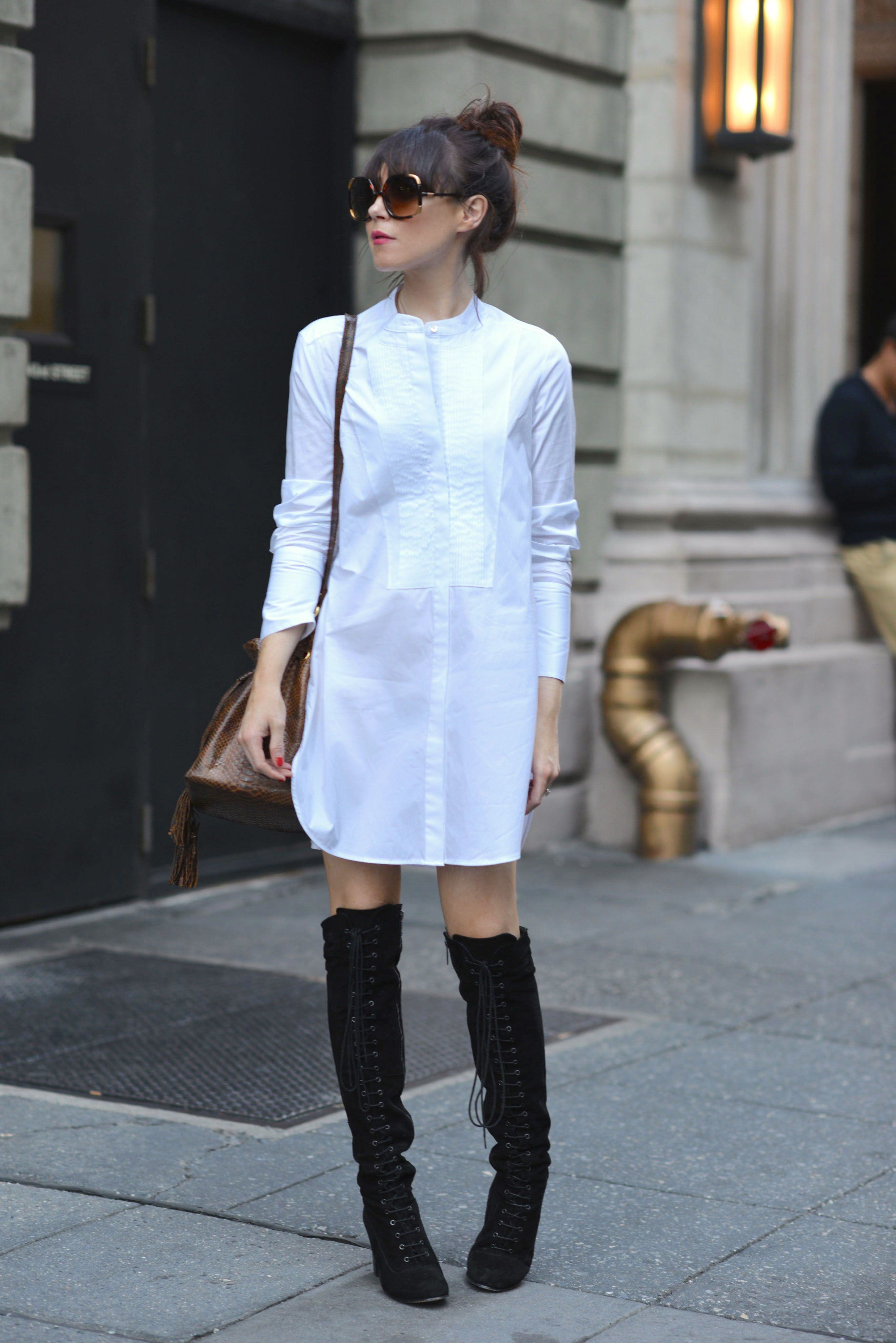 fb94529e012 How to wear a white shirt dress with over-the-knee boots  overthekneeboots   suedeboots  thighthighboots  shirtdress  sunglasses  laceupboots   sisistyling   ...