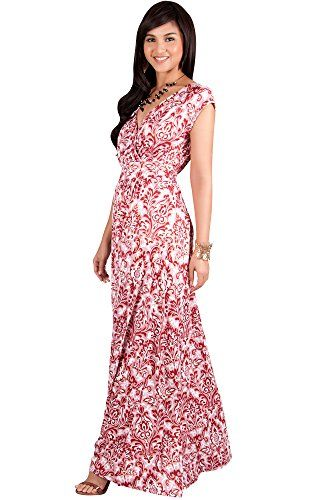 81f843a8e474 KOH KOH Womens Long Cap Short Sleeve Printed VNeck Empire Waist Summer Boho  Bohemian Maternity Casual Gown Gowns Maxi Dress Dresses Color Crimson Red  Size ...