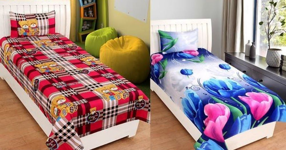 Code 00376 Colorful Poly Cotton Single Bed Sheet Combo Color