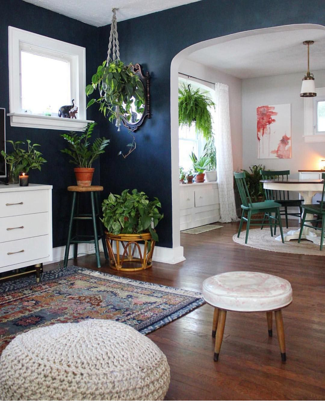 30 Incredible Eclectic Dining Designs: Eclectic Boho Living Room And Dining Room Decor. Plants