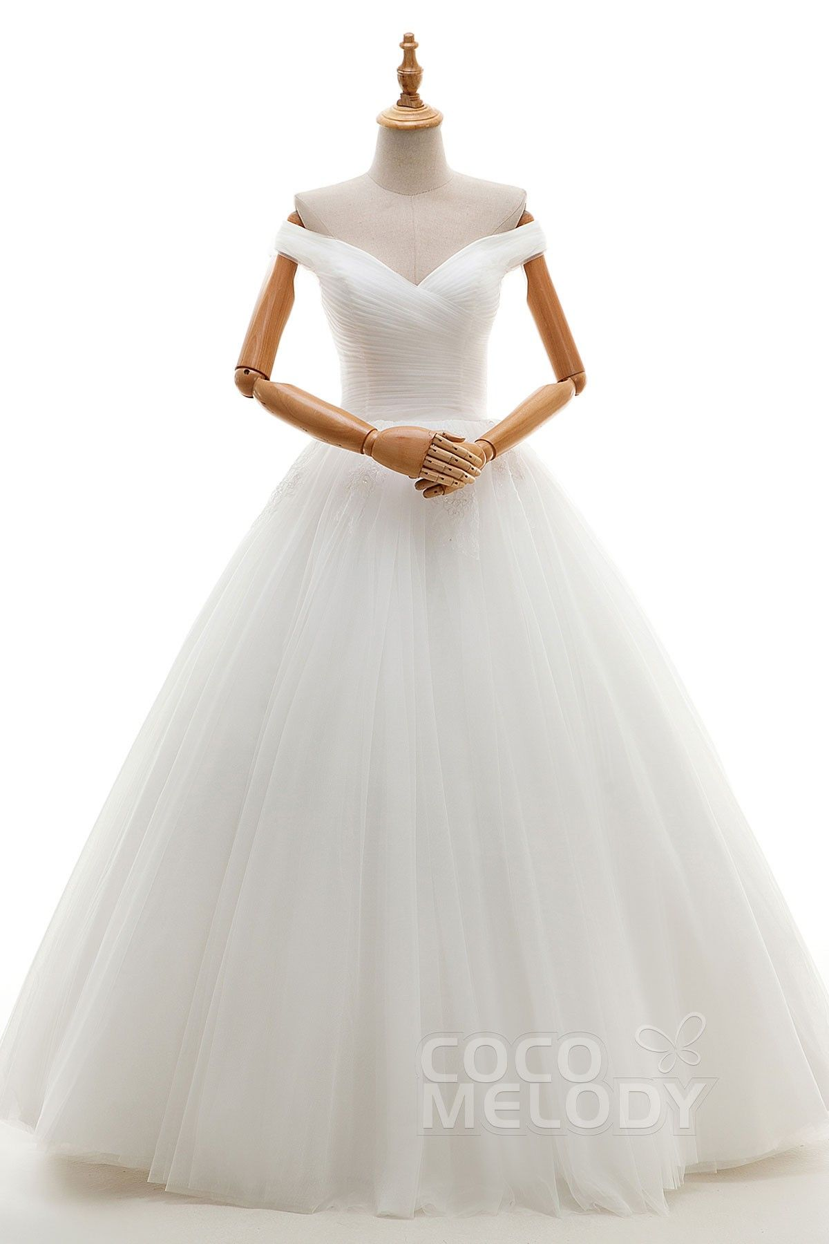 [ USD 419 ] ALine Floor Length Tulle Wedding Dress