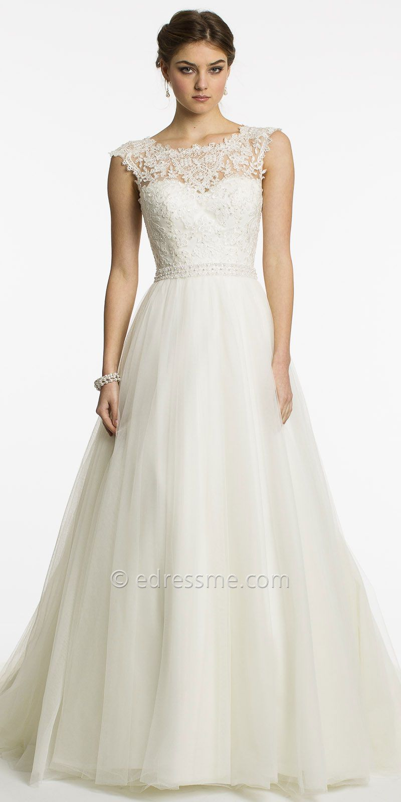 A line cap sleeve wedding dress  Lace Cap Sleeve Wedding Dress by Christian Michele from Camille La