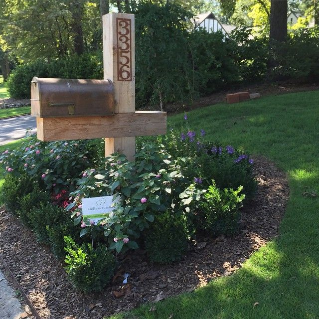 cedar mailbox and landscaping