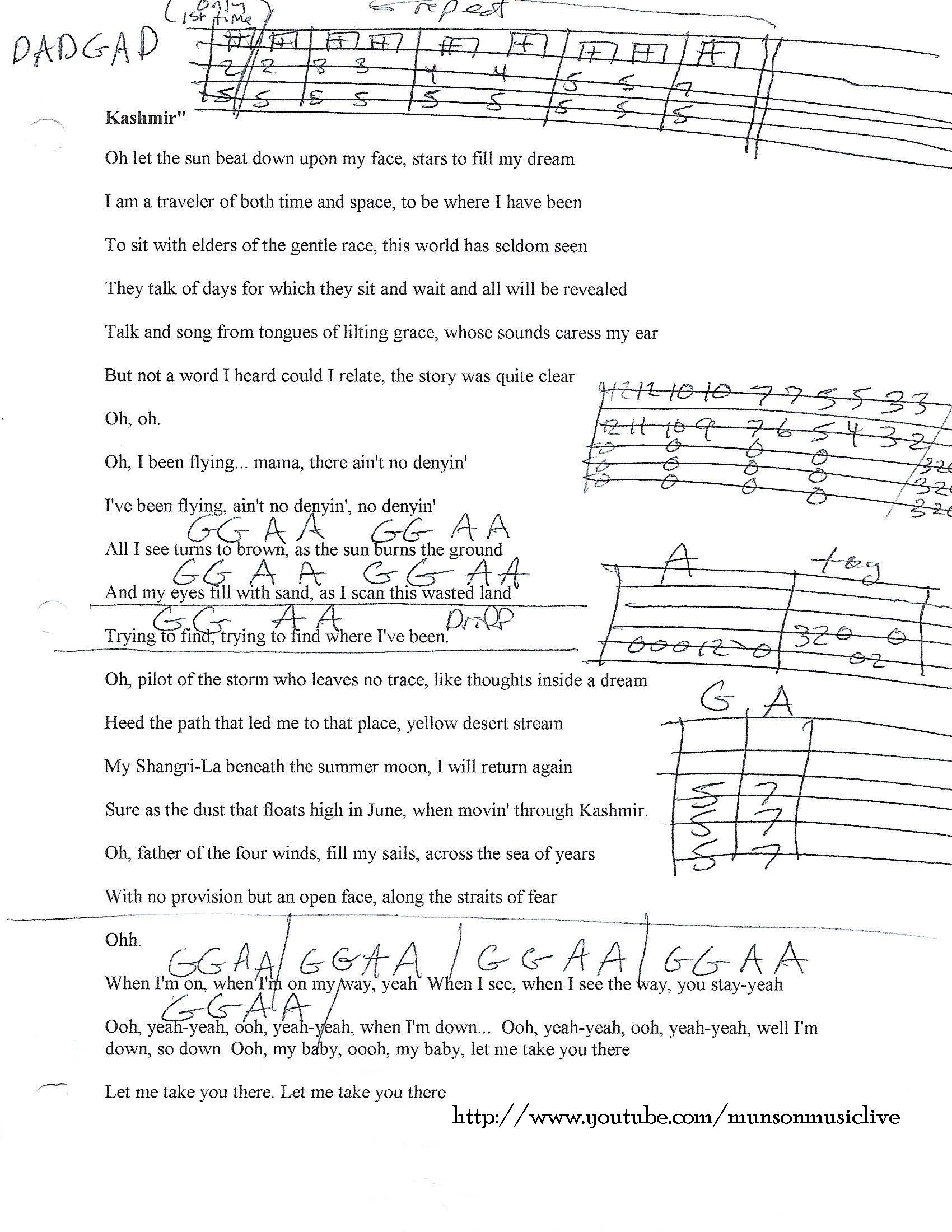 Kashmir Led Zeppelin Guitar Chord Chart Guitar Lesson Chord