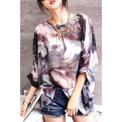 09fc463c Wholesale Stylish Round Neck 3/4 Sleeve Printed Loose-Fitting Women's  Blouse (AS