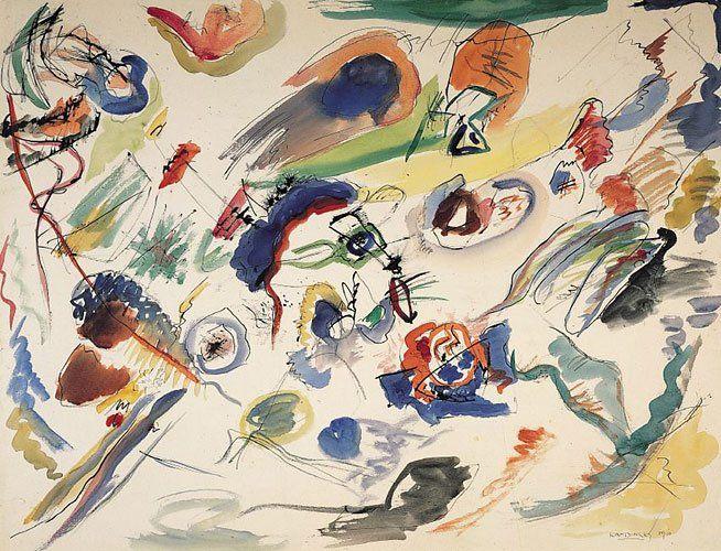 Wassily Kandinsky Premiere Aquarelle Abstraite 50 X 65 Cm Datee