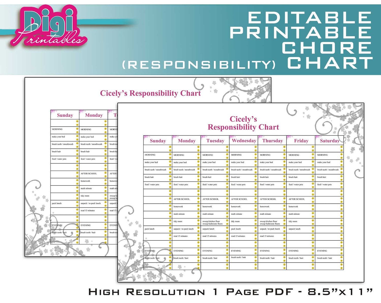 photo about Printable Chore Charts Pdf titled Pin upon dwelling faculty