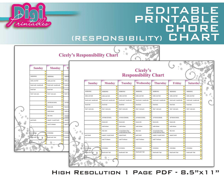 Free family chore charts printable editable chart responsibility  pdf also rh pinterest