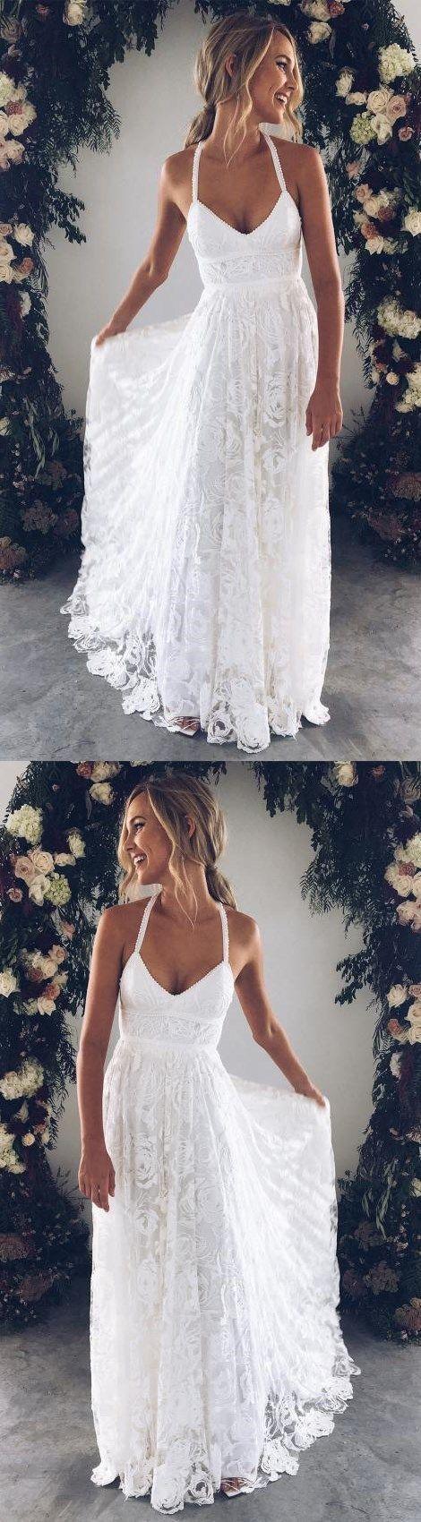 Weißes langes Kleid mit V-Ausschnitt, weißes Abendkleid … - Hochzeit ideen #promdresseslong