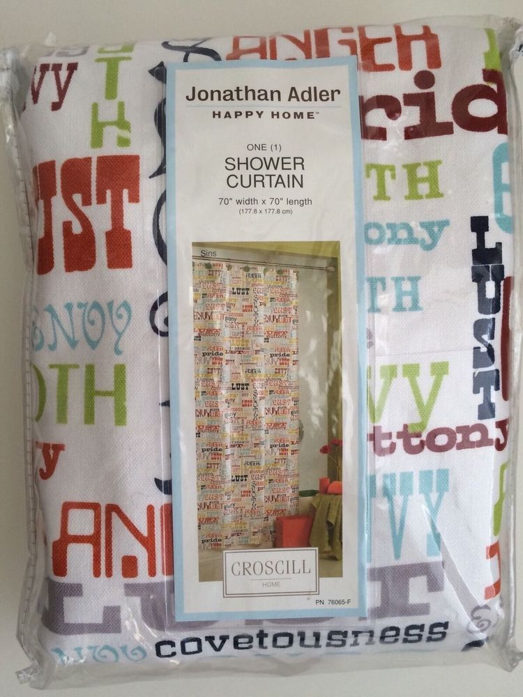 Jonathan Adler Shower Curtain 7 Deadly Sins Rare Ebay Fabric